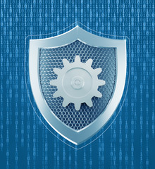 Technical Security. Single metallic gear attached to center of metallic shield which is on background of binary code. 3D-rendering graphics on the theme of Cybersecurity.