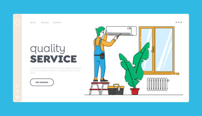 Husband for an Hour, Technics Repair Service, Landing Page Template. Handy Man Character Fixing Broken Conditioner at Home or Office. Electrician Call Master at Work. Linear Vector Illustration