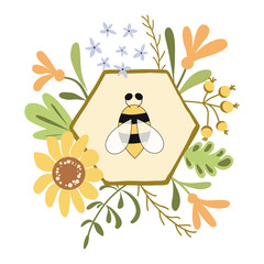 Honeycomb bee floral card Cute flowers bee honey concept Wreath Organic plants sketch background.