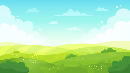 Cartoon meadow landscape. Summer green fields view, spring lawn hill and blue sky, green grass fields landscape vector background illustration. Field grass, meadow landscape spring or summer