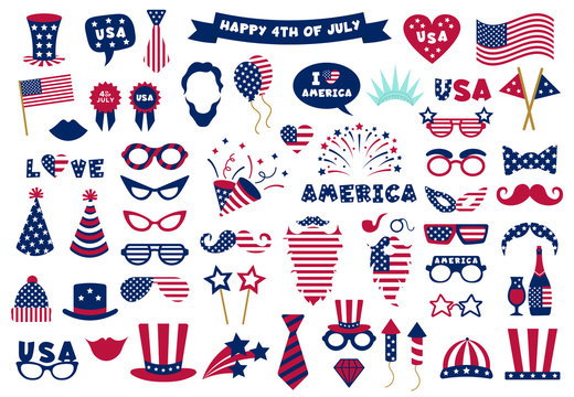 Photobooth USA patriotic props. Celebration photobooth mask, American glasses, mustache and hat, photo props vector symbols set. American party, mask booth independence holiday illustration