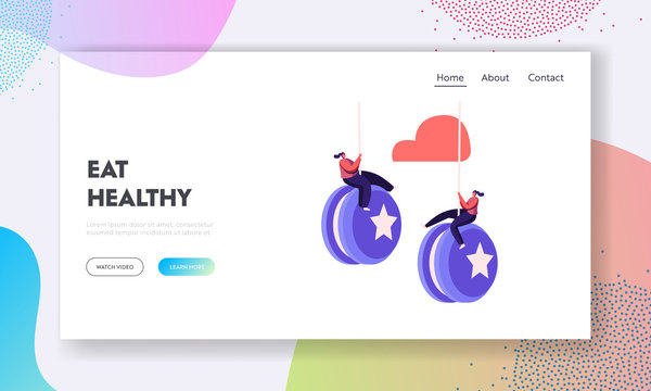 Failure, Disruption of Healthy Eating and Lifestyle Landing Page Template. Tiny Female Characters Hang on Huge Yo-yo. People Rapidly Gaining Weight after Diet. Cartoon People Vector Illustration