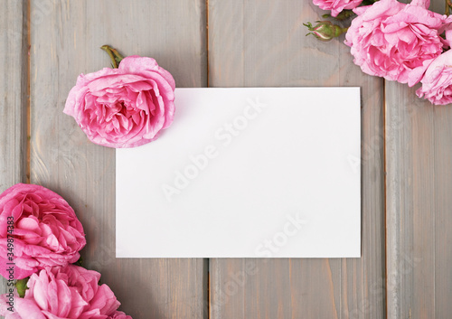 Pink tea roses. Copy spase. Greeting card for mother's day. Valentine card. Greeting card for Women's Day. Valentine Romantic congratulation February 14. Happy Birthday! Wedding invitation.