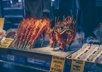 vendor selling korean street food