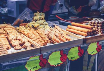 fried korean snack  on display for sale