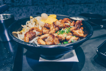 fried pork rice and vegetables