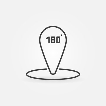 Map Pin with 180 degrees sign vector linear icon or logo element