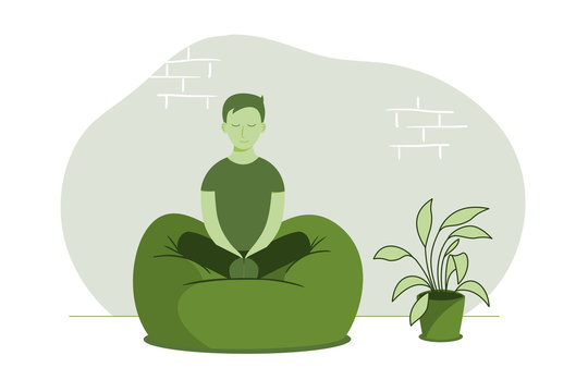 man meditating in living room. Concept illustration for yoga, meditation, relax, recreation, healthy lifestyle.