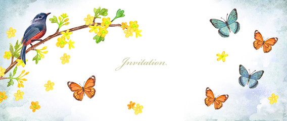 Ingelijste posters Vlinders in Grunge invitation banner with butterflies and pretty bird sitting on twig of blossom wild currant bush with yellow little flowers. watercolor painting