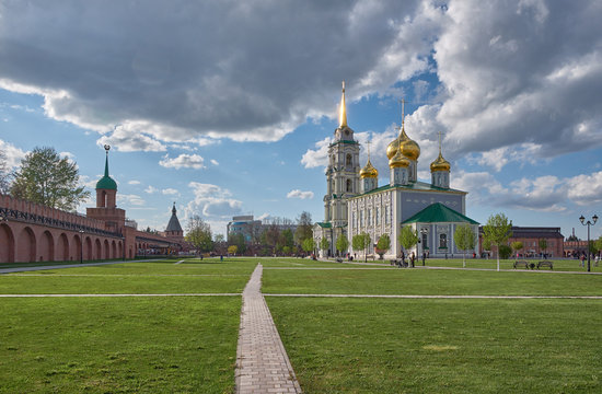 Tula Kremlin in the spring sunny day. Assumption Cathedral