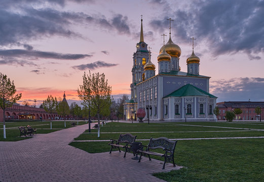 Tula Kremlin in the spring evening. Assumption Cathedral