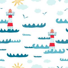 Modèle sans couture pour enfants avec paysage marin, phare, mouette sur fond blanc. Texture mignonne pour la conception de la chambre des enfants, papier peint, textiles, papier d& 39 emballage, vêtements. Illustration vectorielle