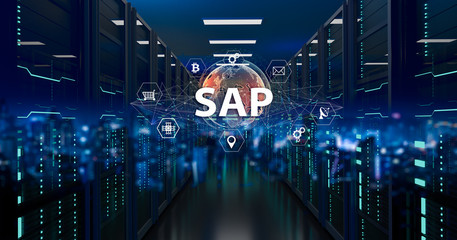 Fototapeta SAP - Business process automation software and management software (SAP). ERP enterprise resources planning system concept on virtual screen. obraz