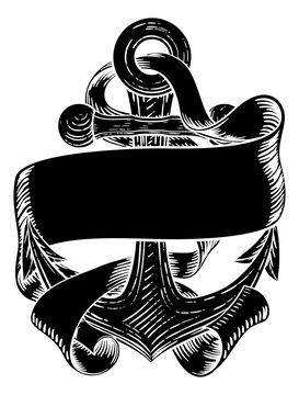 An anchor from a boat or ship with a banner scroll wrapped around it tattoo or retro style woodcut etching drawing in a vintage style