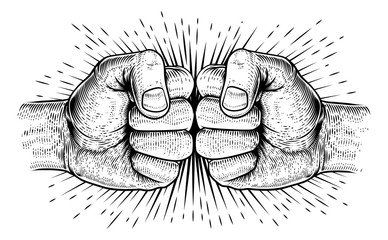 Two hands fist bump punch fists in a vintage woodcut style