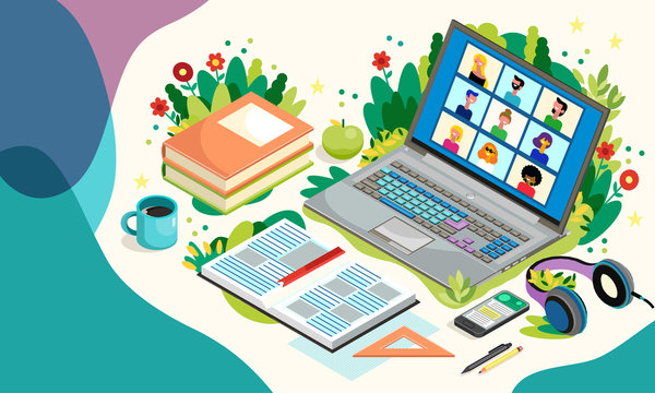 Online Education With Laptop And Pupils. Distance Learning. Vector Illustration. Teleconference Web Video Conference Call During Coronavirus COVID-19.