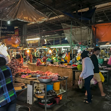 Colorful Wet Fish Market Selling Raw Seafood and Meat   - Fishmonger Outdoor