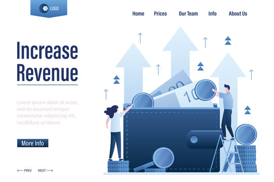 Increase revenue landing page template. Wallet full of money. High interest rate. Growing quotes, raise capital,