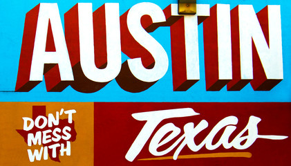 Austin, Texas - July 19, 2015: Dont Mess With Texas mural on the Wall depicted in Austin, Texas, USA.