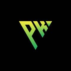 Obraz P K Initial triangle logo monogram with triangle shape - fototapety do salonu