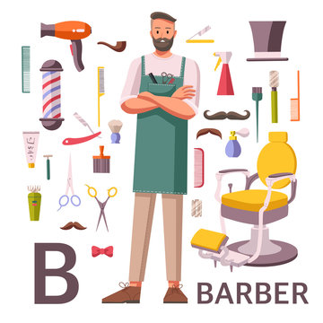 Barber character and barber shop supplies icons arranged around it. Flat style vector illustration. Young hipster man stylist with scissors and hairbrushes. Alphabet Profession. Letter B - Barber.