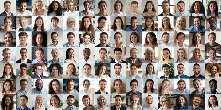 Collage mosaic of many multiracial people of different age and ethnicity faces headshots close up portraits. Lot of happy mixed multicultural diverse business people group photo collection concept.