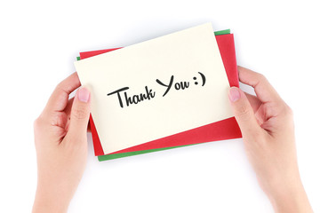 Cropped Hands Holding Card With Thank You Text On White Background