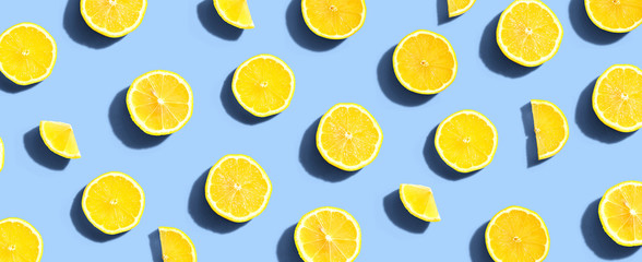 Fresh yellow lemons overhead view - flat lay