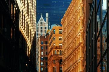 Fototapete - New York City street sunset