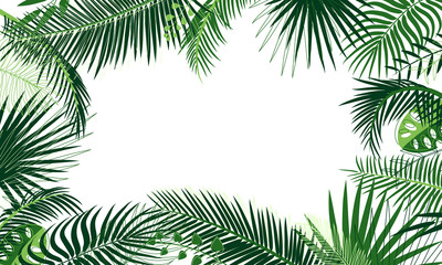 Frame of tropical foliage. Border with palm branch, leaves, monstera, green exotic grass. Rainforest concept, banner. Floral background, web design, ad. Elements under the mask, editable. Place text