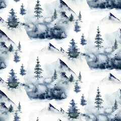 Watercolor winter forest seamless pattern. Christmas tree landscape with Pine Trees fir in the Mountains. Hand painted blue Background. Snow holiday design paper