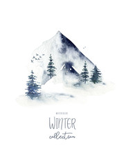 Wall Mural - Watercolor winter forest. Christmas tree landscape with Pine Trees fir in the Mountains. Hand painted Isolated on white Background. Snow holiday design