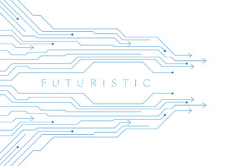 Fotobehang - Blue minimal abstract futuristic background with circuit board lines and arrows. Vector design