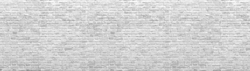 Fotobehang - Old white brick wall background, wide panorama of masonry