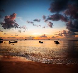 Wall Mural - Sunset and beautiful beach, Koh Tao, Thailand