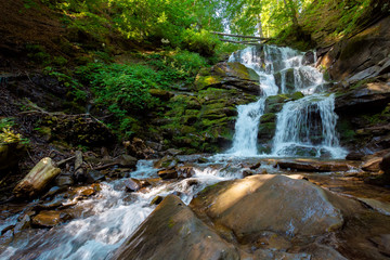 waterfall in the fores. rapid water of mountain river. beautiful nature background. calming summer landscape