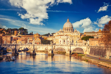 View at Tiber and St. Peter's cathedral in Rome at sunny day