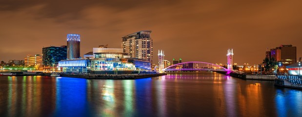 Manchester Salford Quays business district night view