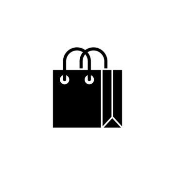 Shopping bag icon, black flat shape design isolated on white background