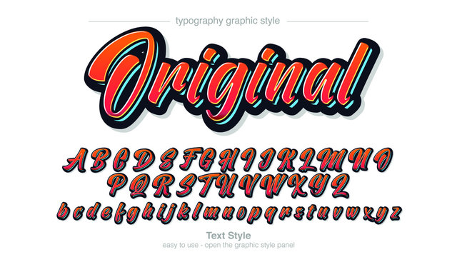 Red Blue Bold Colorful Cursive Calligraphy Font Graphic Style