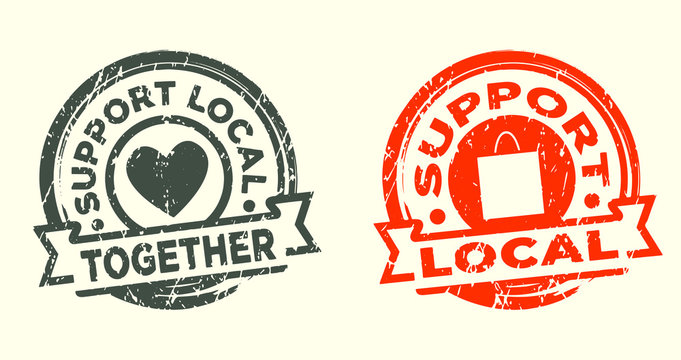 Support local stamp. Grunge texure. Vector illustration.