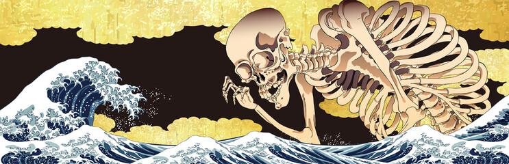 Door stickers Watercolor Skull 神奈川沖浪裏&金の雲&髑髏 ロングバージョン