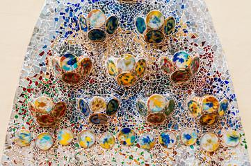 Casa batllo extraordinary artisan wall interior with mosaic tiles in Barcelona, was design by Antoni Gaudi. Spanish architect