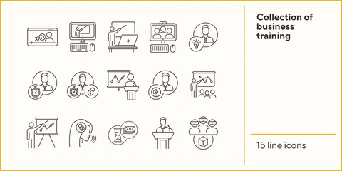 Collection of business training icons. Men in VR glasses, training on screen, sandglass. Training concept. Vector illustration can be used for topics like education, internet, business Wall mural