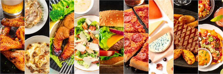 Food collage panorama, design template. Various tasty dishes, including a burger, a pizza, seafood pasta, beef steak. A restaurant menu cover or a groceries shop flyer
