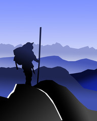 Mountain climber on top of a mountain. Illustration on a blue background.