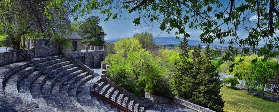 Amphitheater ruins with castle like tourettes made of stone and rock, overlooking Utah Lake just East of the Utah State Hospital. Old antique amphitheater in the city of Provo  in Utah, United States.