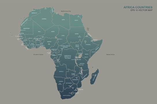 africa map. africa countries vector map.