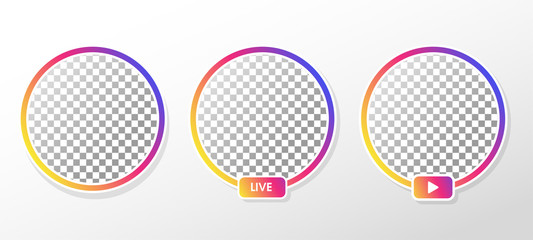Gradient circle profile frame for live streaming on social media.