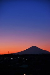 Printed roller blinds Violet Scenic View Of Silhouette Mt Fuji Against Clear Sky During Sunset